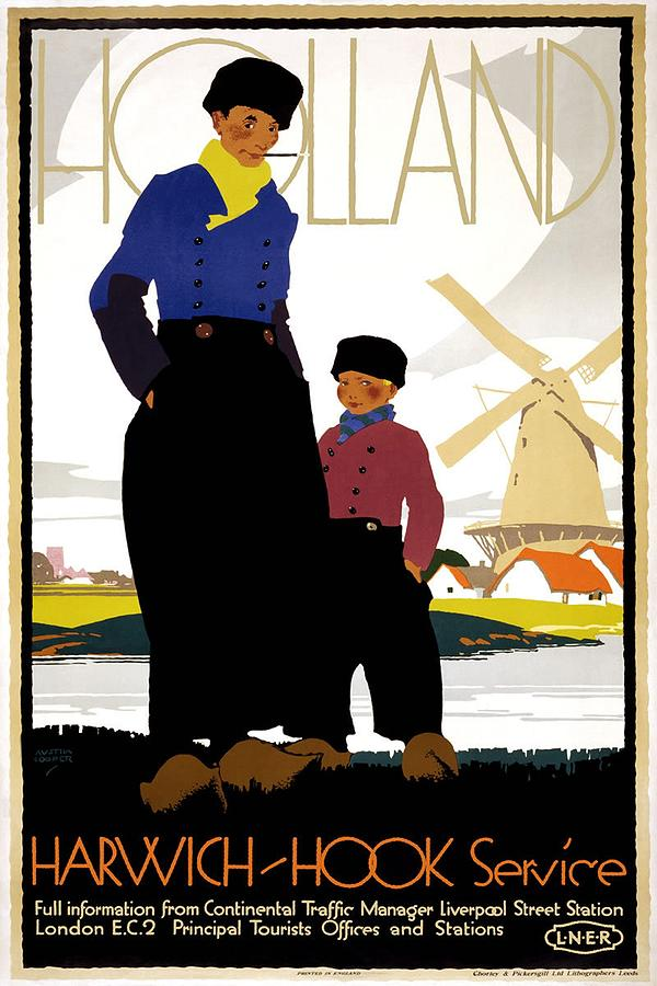 Mother And Child Near A Windmill In Holland - Vintage Travel Poster Painting