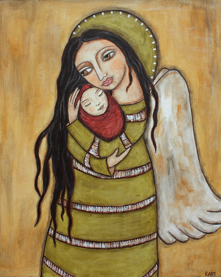 Religious Art Paintings Painting - Mother And Child by Rain Ririn