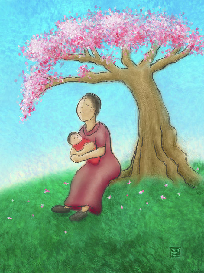 Mother and Child with Cherry Blossoms by Geoffrey Lewis