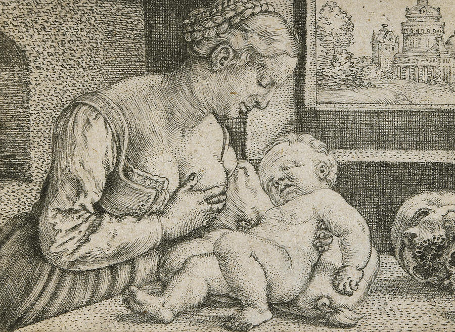 Engraving Drawing - Mother And Child With Skull And Hourglass by Barthel Beham