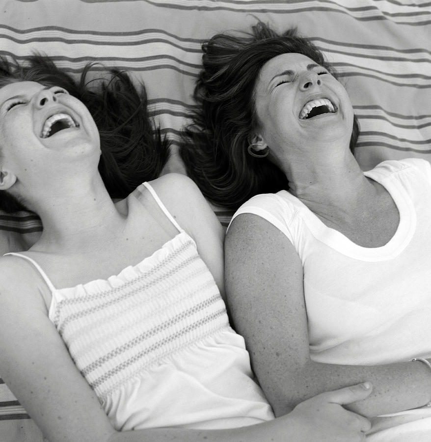 B & W Photograph - Mother And Daughter Laughing by Michelle Quance