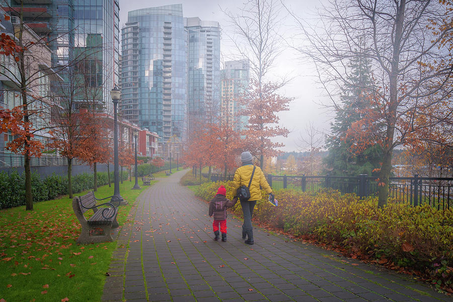 Mother And Daughter On Vancouvers Walk Way Photograph