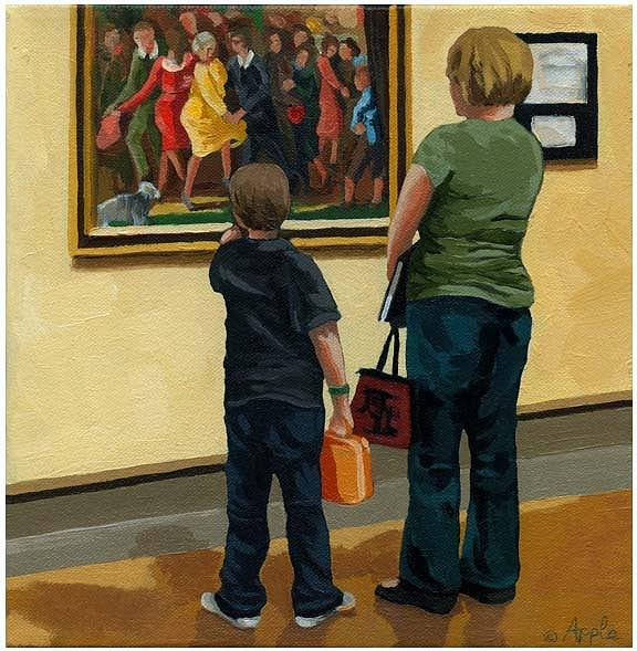 Figurative Painting - Mother And Son At Art Museum by Linda Apple