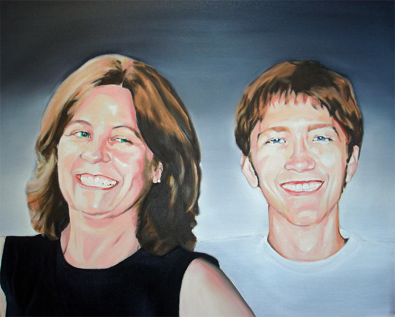 Portrait Painting - Mother And Son by Davinia Hart