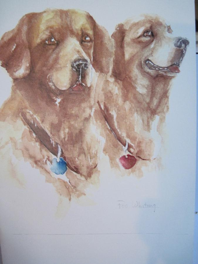 Dogs Painting - Mother And Son Golden Retrievers by Peg Whiting