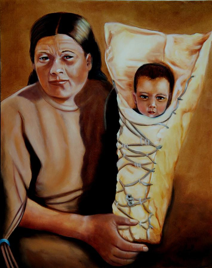 Native American Painting - Mother And Son by Joni McPherson