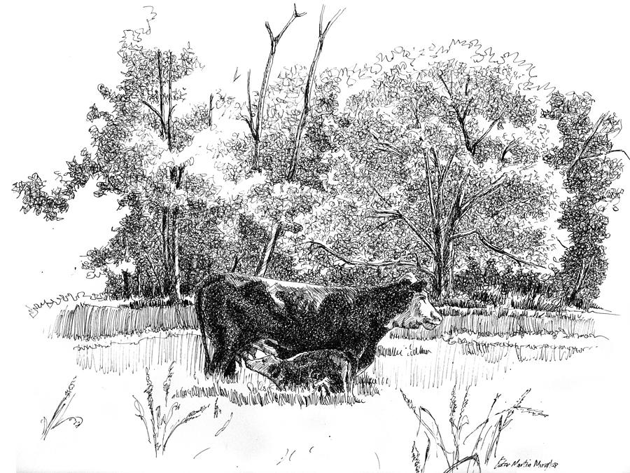 Landscape Drawing - Mother And Son by Peter Muzyka