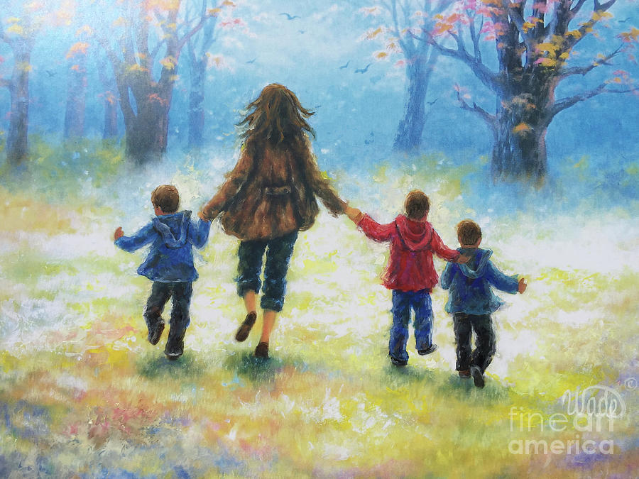 Three Boys Painting - Mother And Three Sons  by Vickie Wade