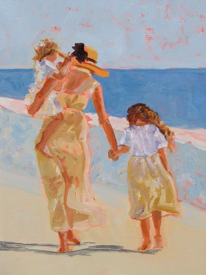 Woman Painting - Mother And Two Daughters by Molly Wright