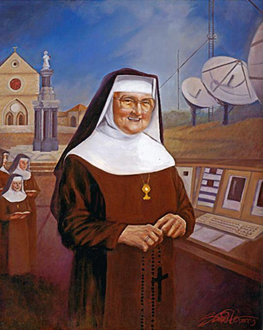 Catholic Tv Painting - Mother Angelica - Nun Of The Media by Mark Sanislo