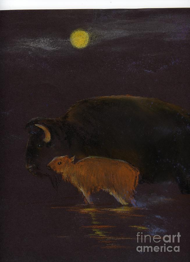 Mother Bison And Calf Painting by Mui-Joo Wee