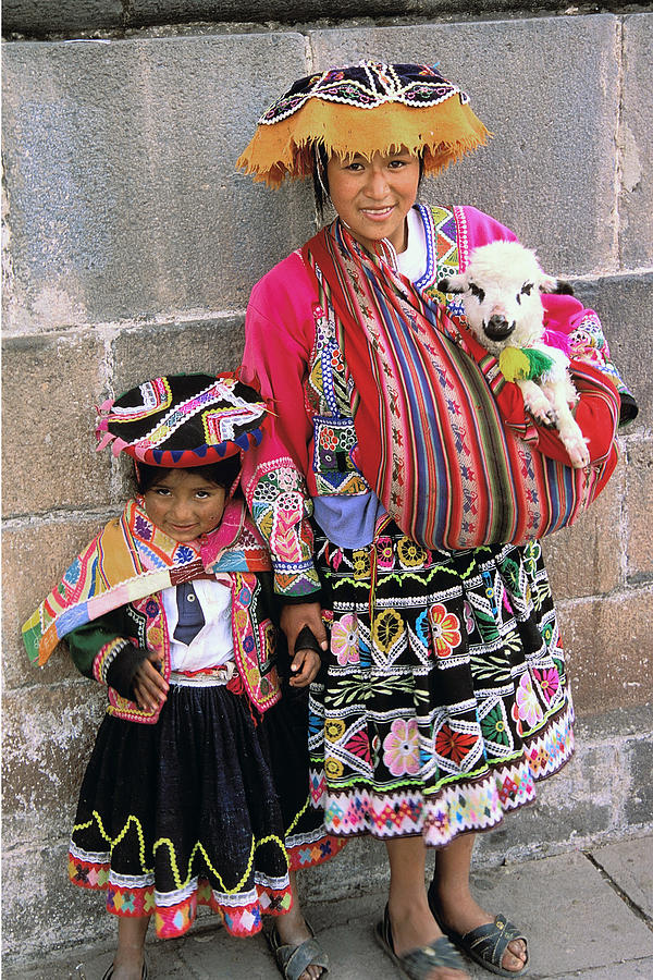 Peru Photograph - Mother Child  And Lamb Cuzco by Alan Lenk