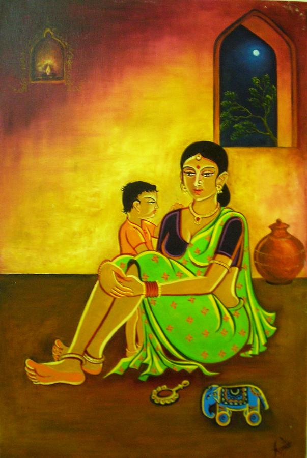 Original Painting - Mother-child by Asmita Savita