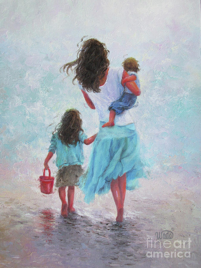 Mother Daughter Baby Son Beach Painting By Vickie Wade