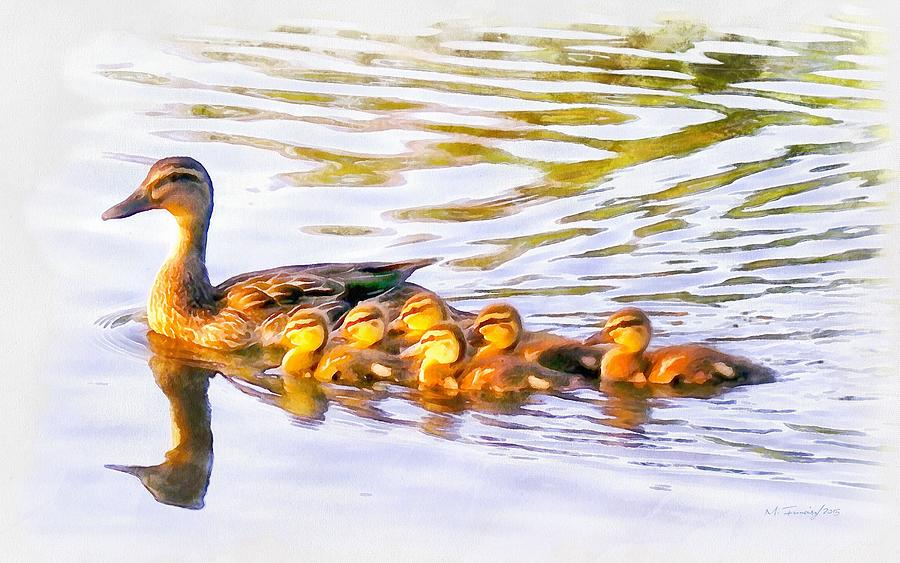 Mother Duck And Ducklings Painting By Maciek Froncisz