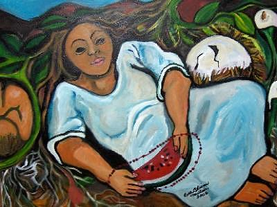 Brilliant Colors Painting - Mother Earth 3 by Ruth Olivar Millan