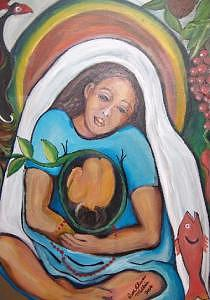 Mary Painting - Mother Earth Gives Birth by Ruth Olivar Millan