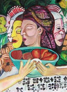 Multicultural Painting - Mother Earths Faces by Ruth Olivar Millan