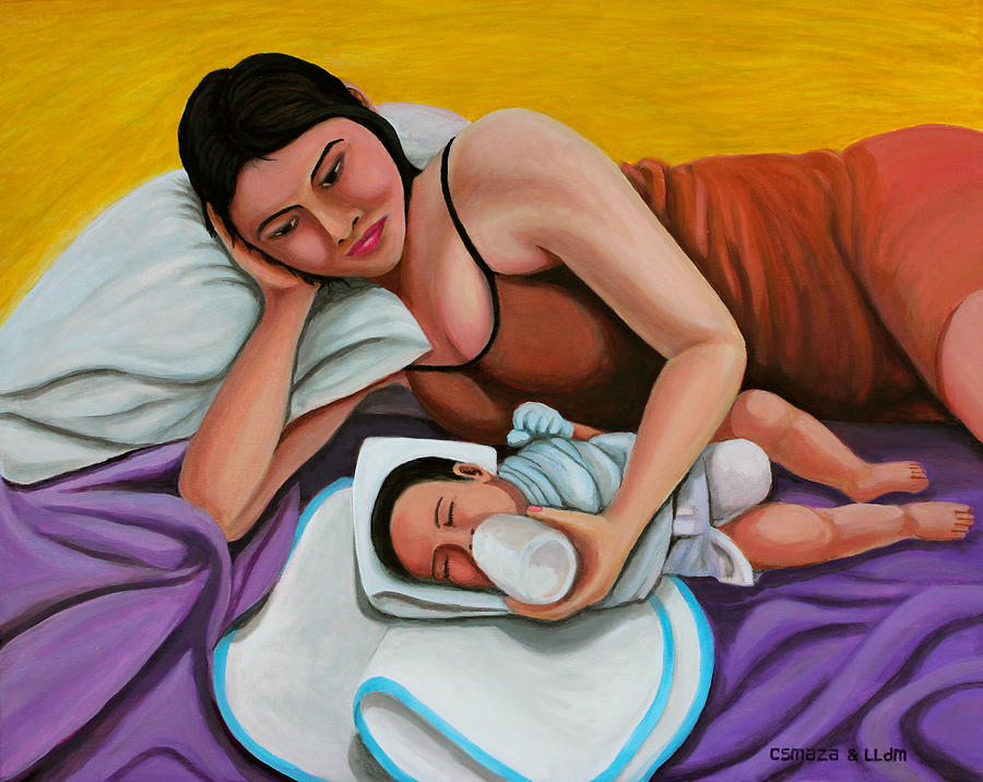 Mother Feeding Her Baby Painting