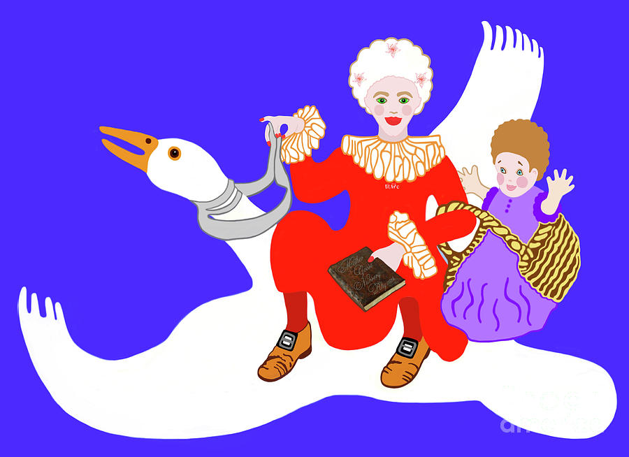 Mother Goose Painting - Mother Goose On Her Flying Goose by Marian Cates