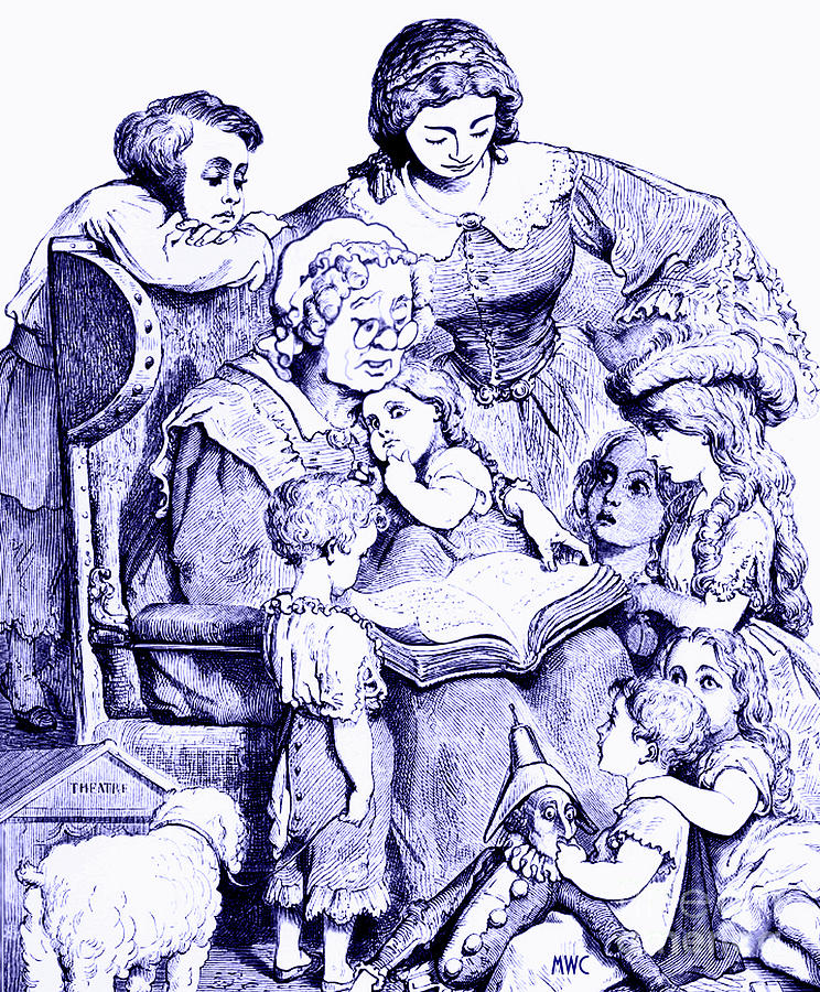 Blue Painting - Mother Goose Reading To Children by Marian Cates