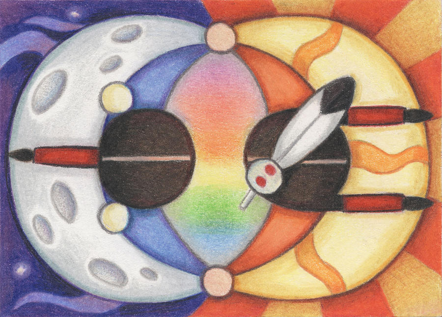 Native Drawing - Mother Moon  Father Sun by Amy S Turner