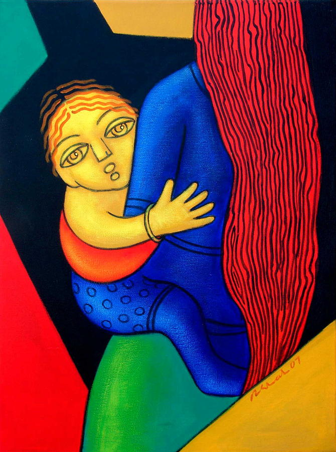 Mother N Child 3 Painting by Rajesh Shah