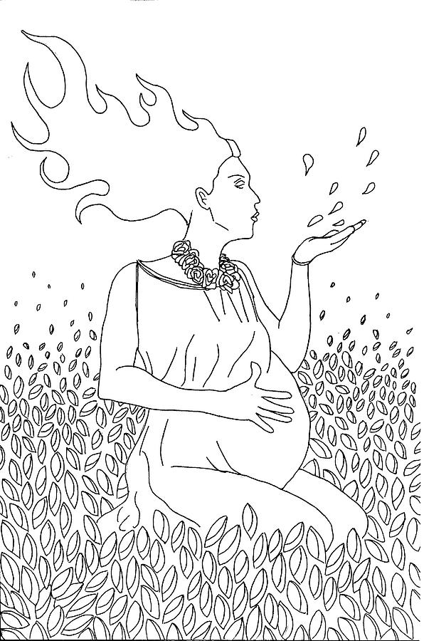 Line Drawing Drawing - Mother Nature by Kate Evans