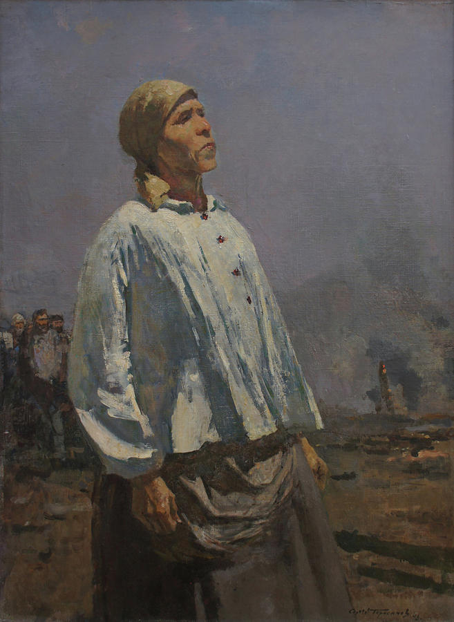 Russian Artist Painting - Mother of Partisan by Sergey Gerasimov