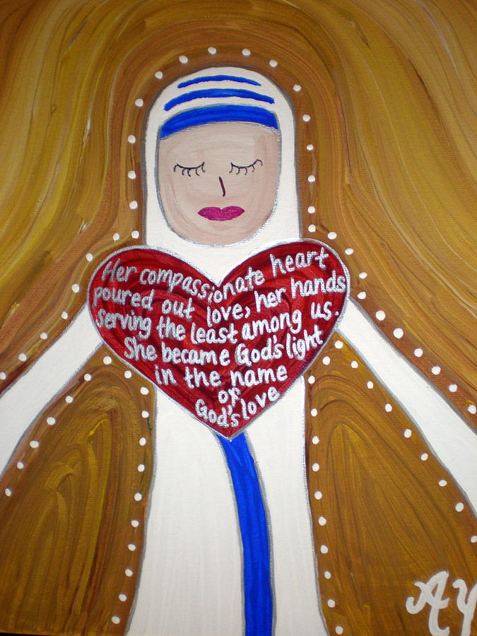 Holy Painting - Mother Teresa by Angela Yarber