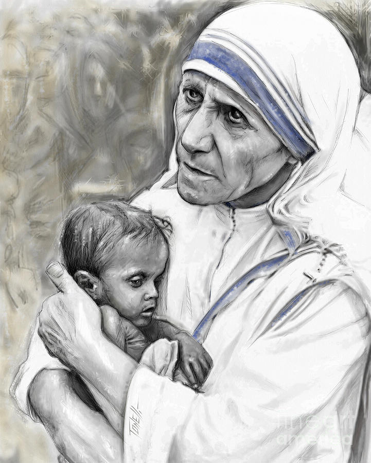 Mother Teresa. God Bless This Child Mixed Media by Mark ...