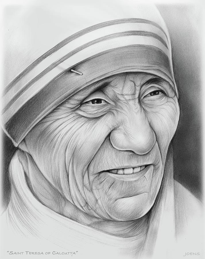 Mother Teresa Drawing By Greg Joens