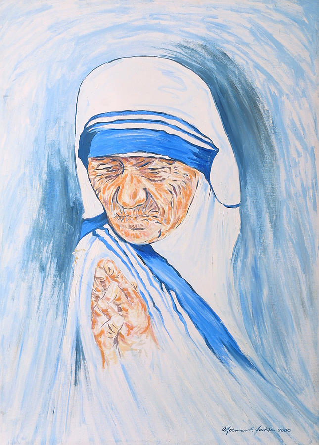 Mother Theresa Painting - Mother Theresa In Prayer by Norman F Jackson