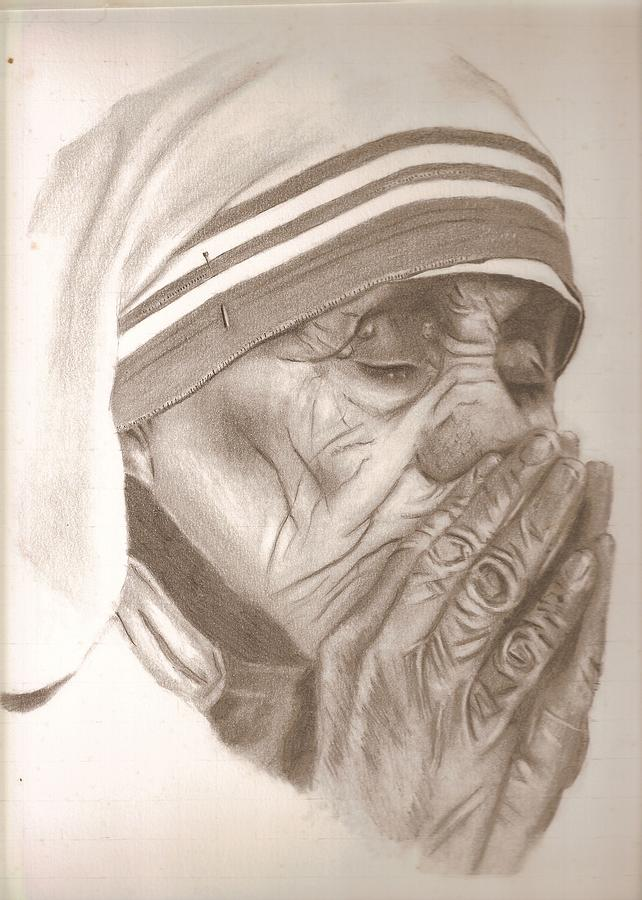 Mother  Theresa Drawing by Miguel        A      Rivera