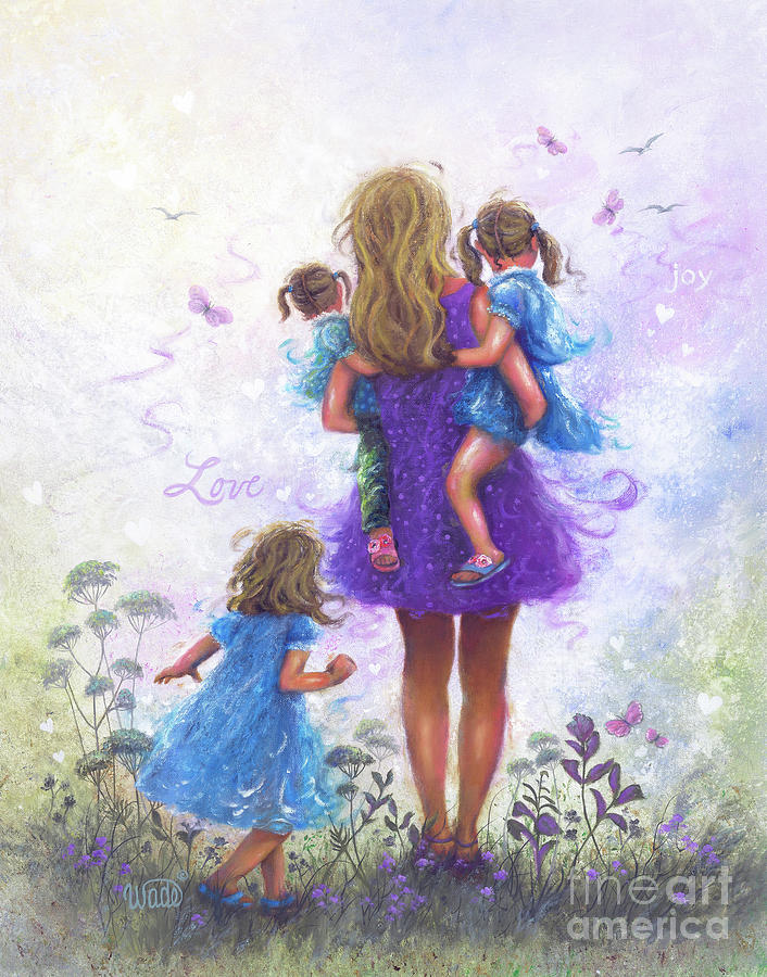 Mother Three Daughters Blonde Mom Painting By Vickie Wade