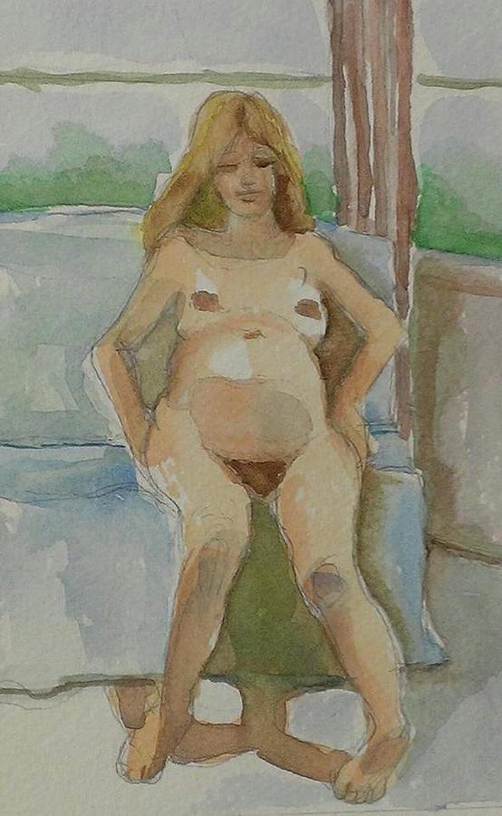 Watercolors Painting - Mother-to-be by Janet Butler