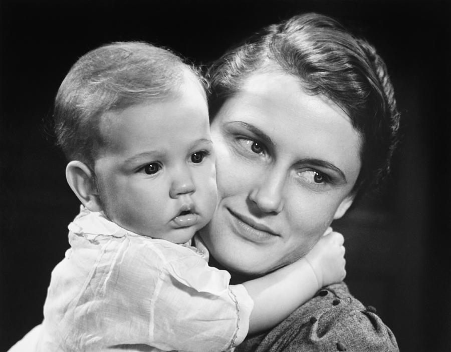 Baby Photograph - Mother With Baby Girl (9-12 Months) Posing In Studio, (b&w), Portrait by George Marks