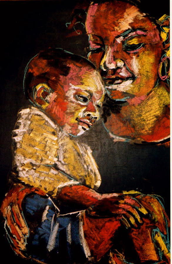 Portrait Painting - Mother With Child by Doris  Lane Grey