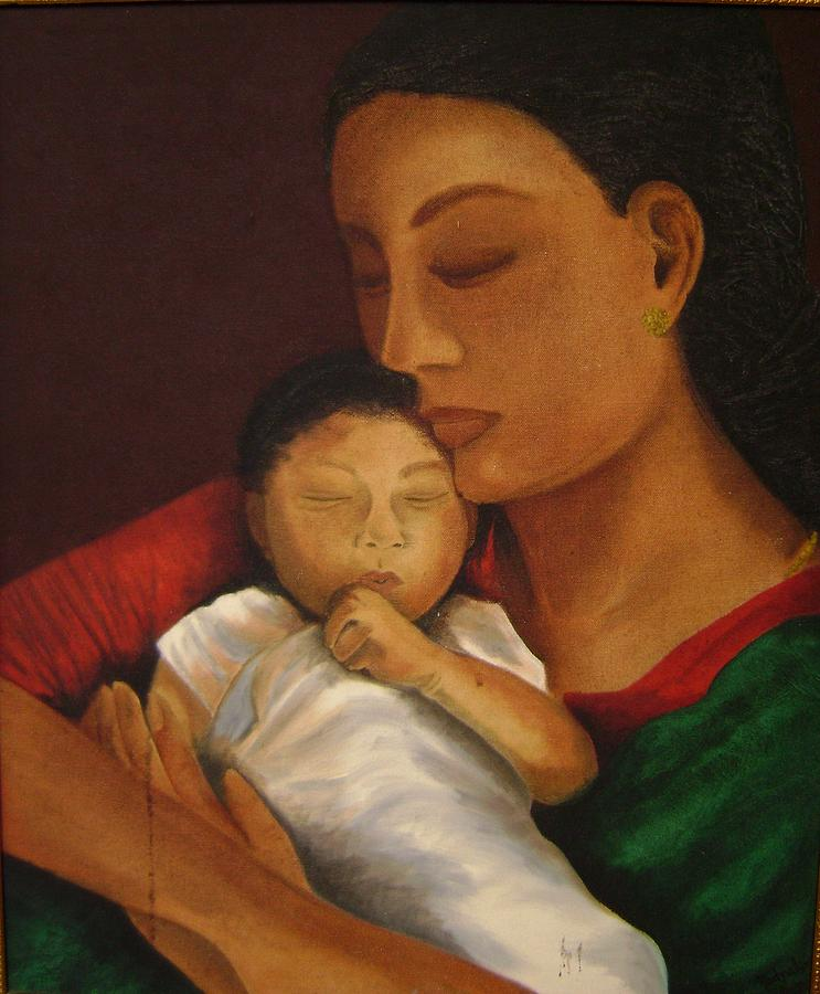 Mother With Child Painting by Padmakar Kappagantula