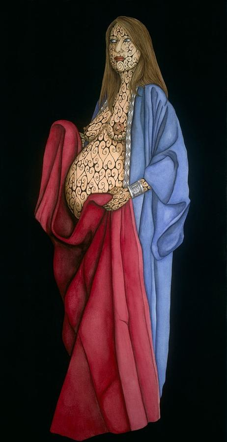 Archetypal Image Of The Madonna - The Selection Of Specific Colors For The Fabric Alludes To This Painting - Mother With Child by Tina Blondell