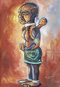Ancestors Painting - Motherhood by Joe Amenechi