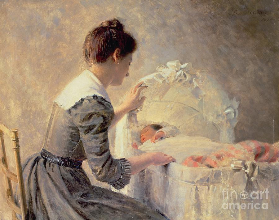 Motherhood Painting - Motherhood by Louis Emile Adan
