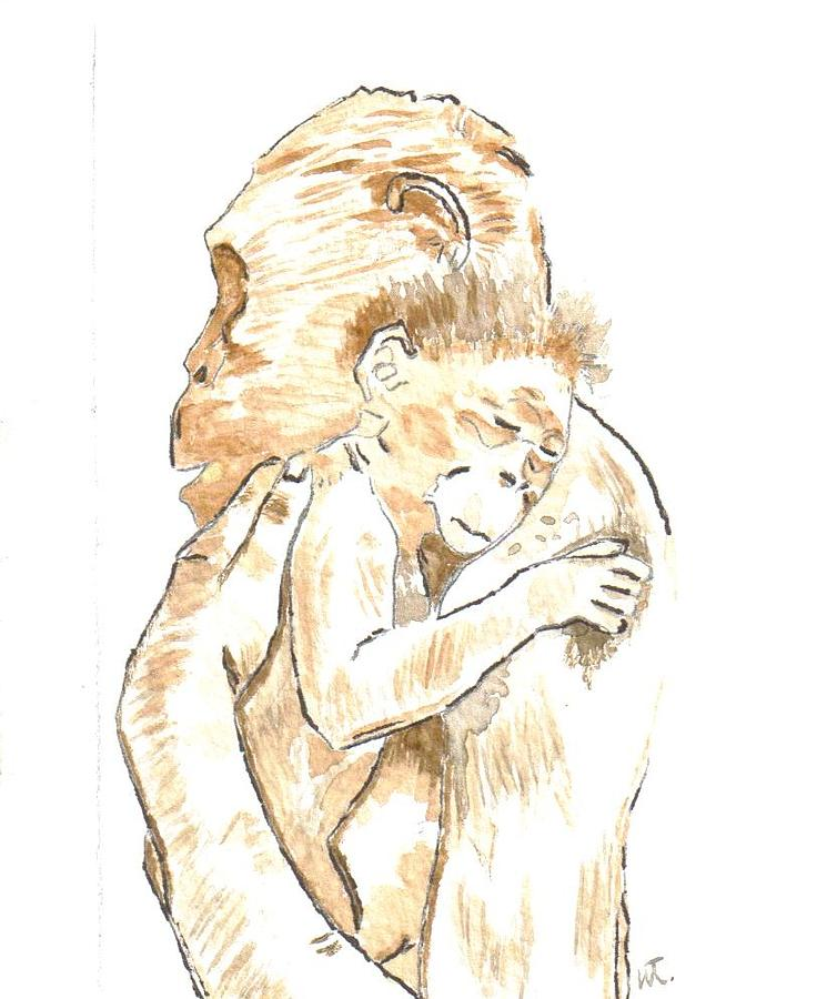 Chimps Painting - Mothers Arms by Warren Thompson