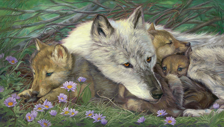 Wolf Painting - Mothers Comfort by Lucie Bilodeau