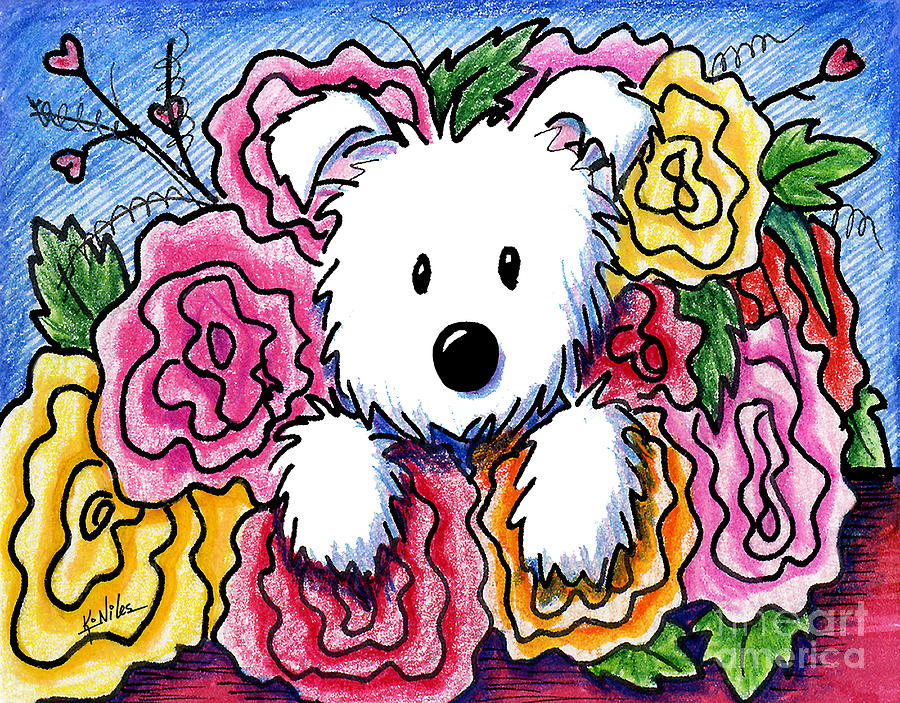 Dog Drawing - Mothers Day Bouquet by Kim Niles