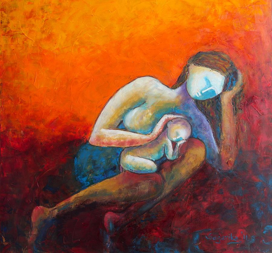 Mother Painting - Mothers Lap by Sagarika Sen