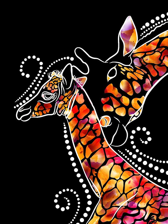 Giraffe Digital Art - Mothers Love 2 by Lisa Schwaberow