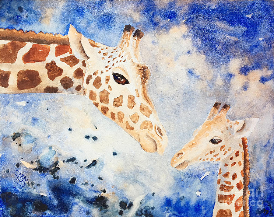 Giraffe Painting - Mothers Love by Art by Carol May