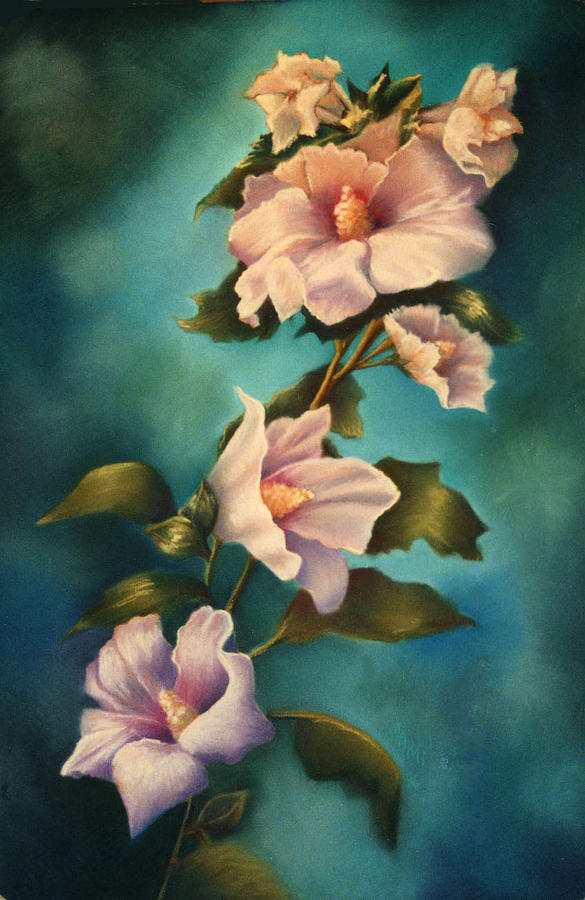 Rose Pink Althea Pastel Painting Floral Flower Painting - Mothers Rose Of Sharon by Marti Bailey
