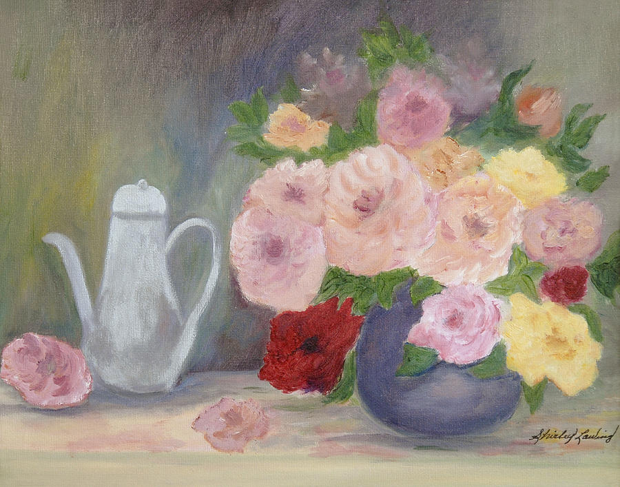 Still Life Of  Vintage Multi-colored Roses In Purple Vase With Antique Tea Server Painting - Mothers Roses by Shirley Lawing